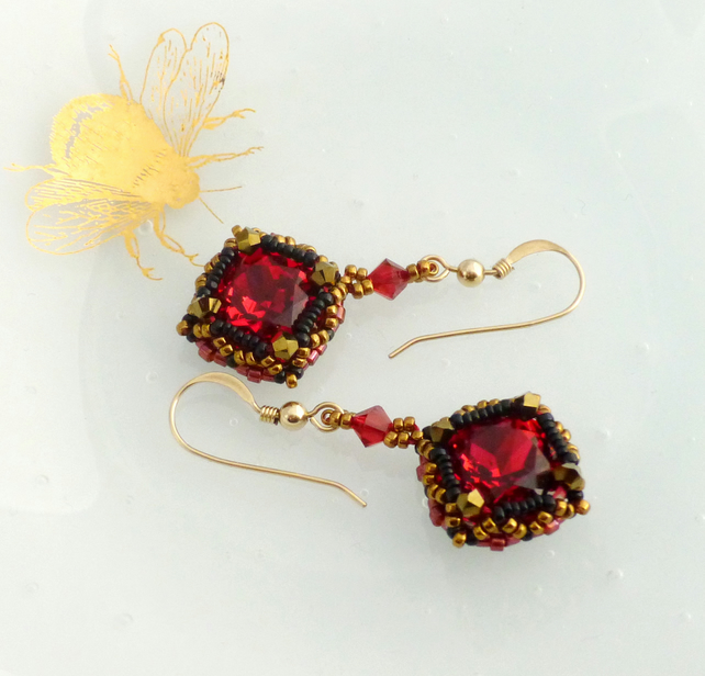 Scarlet and Antique Gold Vintage Style Dangle Earrings