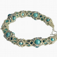 Silver and Blue Paint Splash Beaded Bracelet