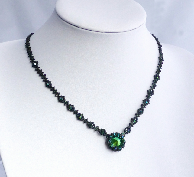 Dark Green Crystal Necklace with Swarovski Scarabaeus Green Crystals