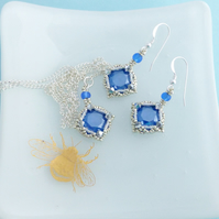 Royal Blue Crystal Pendant and Earrings Gift Set