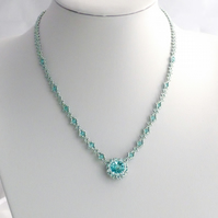 Aqua Crystal Necklace made with Swarovski Crystals