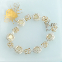 White and Gold Bracelet with Swarovski Golden Shadow Crystals