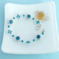 Turquoise and Silver Bracelet with Swarovski Caribbean Blue Opal Chatons