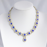 Royal Blue and Silver Beadwork Necklace with Swarovski Crystals
