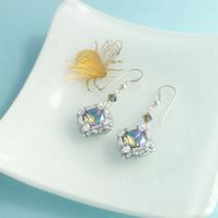 Sparkly Vintage Style Dangle Earrings with Swarovski Crystal and Sterling Silver
