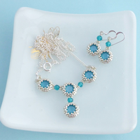 Azure Blue Crystal Necklace and Earring Set - Sterling Silver