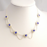 Royal Blue and Silver Crystal Necklace with Chain Links