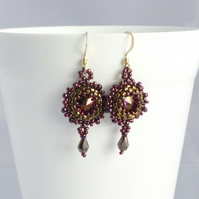 Bronze and Purple Vintage Style Drop Earrings with Swarovski Crystals