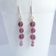 Amethyst Glass Dangle Earrings with a Silver Beaded Wave