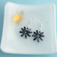 Black and Silver Daisy Flower Earrings