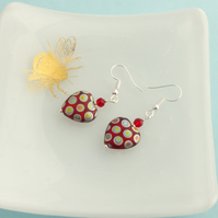 Funky Red Spotty Heart Earrings