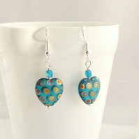Funky Turquoise Spotty Heart Earrings
