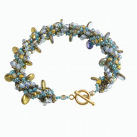 Gold and Iridescent Green Blue Mermaid Inspired Bracelet