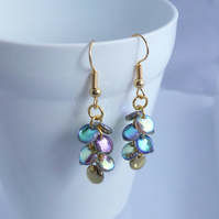 Mermaid Tail Earrings - Gold, Blue and Green with a hint of Purple