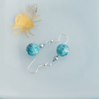 Turquoise Blue Ocean Jade Stone Dangle Earrings