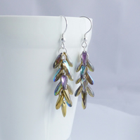 Long Golden Rainbow Cascade Earrings