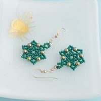 Emerald Green and Golden Green Iridescent Glass Pearl Dangle Earrings