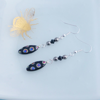 Fun Spotty Black Dangle Earrings with Czech Glass and Swarovski Crystal