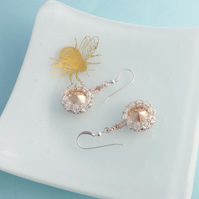 Rose Gold Swarovski Crystal Dangle Earrings with Sterling Silver Earwires