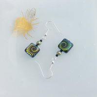 Dainty Iridescent Ammonite Patterned Square Dangle Earrings