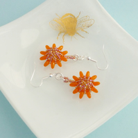 Iridescent Orange Beaded Flower Dangle Earrings