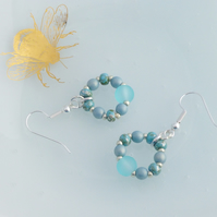 Turquoise Beaded Hoop Dangle Earrings