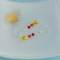 Bright Red, Orange and Yellow Ombre Dangle Earrings