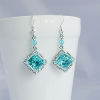 Aquamarine Crystal Vintage Style Earrings