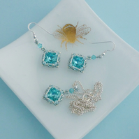 Aqua Crystal Vintage Style Necklace and Earrings Set