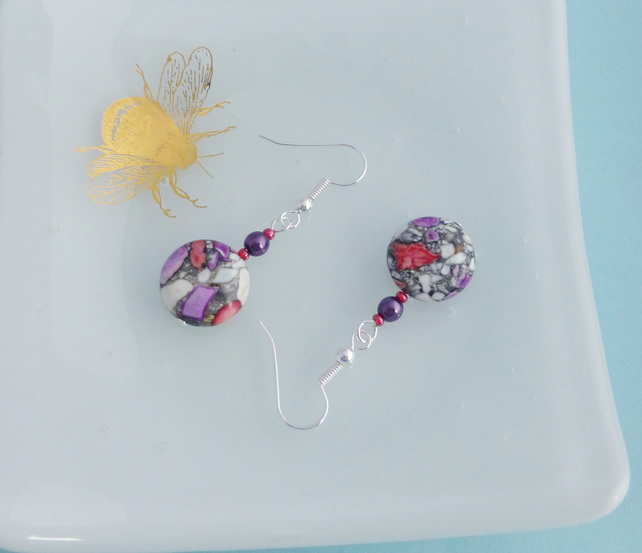 Purple and Red Dyed Turquoise Mosiac Dangle Earrings - Sterling Silver
