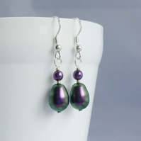 Iridescent Purple Drop Earrings with Swarovski Crystal Pearls