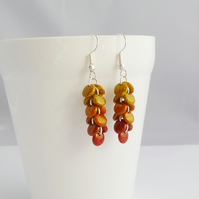 Ombre Red Orange and Yellow Cascade Earrings