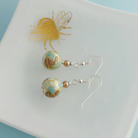 Pastel Dangle Earrings with Japanese Tensha Beads