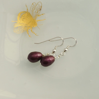 Blackberry Glass Pearl Drop Earrings with Swarovski Pearls and Sterling SIlver