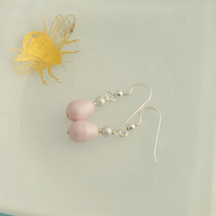 Pastel Rose Pink Drop Earrings with Swarovski Pearls and Sterling Silver