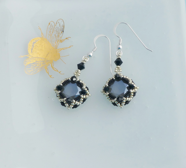 Black, Silver and Grey Crystal Vintage Style Earrings