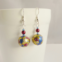 Oriental Plum Patterned Drop Earrings