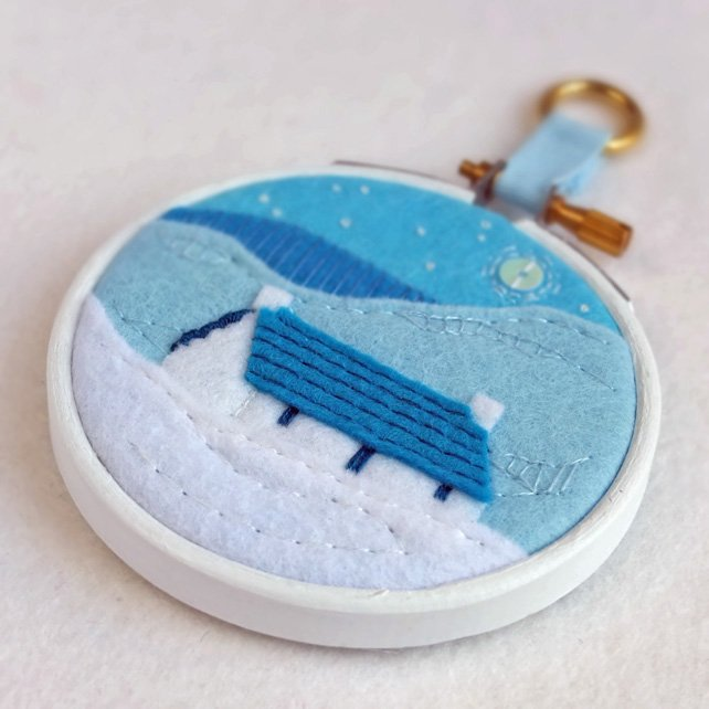 "Hand-embroidered Winter Landscape with Cottage in 3"" Painted Wooden Hoop"