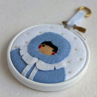"Hand-embroidered Frost Maiden in Ice Blue 3"" Hoop Art"