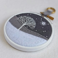 "Hand-embroidered Winter Landscape with Tree in 3"" Painted Wooden Hoop"