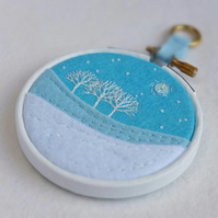 "Hand-embroidered Winter Landscape with Trees in 3"" Painted Wooden Hoop"