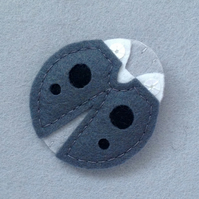 Ladybird Brooch in Dark Grey