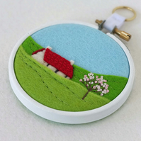 Hand-Embroidered Spring Landscape with Red Roofed Cottage and Blossom Hoop Art