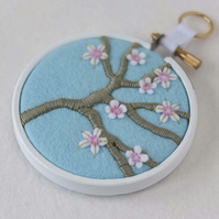 "Blossom Branch (Pale Blue) Textile Art in 3"" Wooden Embroidery Hoop"