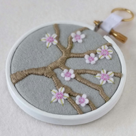 "Blossom Branch (Silver Grey) Textile Art in 3"" Wooden Embroidery Hoop"