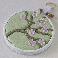 "Blossom Branch (Mint Green) Textile Art in 3"" Wooden Embroidery Hoop"