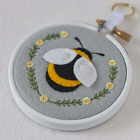 "Springtime Bumble Bee Textile Art in 3"" Embroidery Hoop (Silver Grey)"