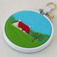 "Hand-embroidered Summer Landscape with Cottage (Red Roof) Textile Art in 3"" Hoop"
