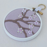 "Blossom Branch (Pale Lilac) Textile Art in 3"" Wooden Embroidery Hoop"