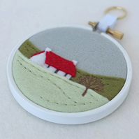 "Hand-embroidered Winter Landscape with Cottage (Red Roof) Textile Art in 3"" Hoop"